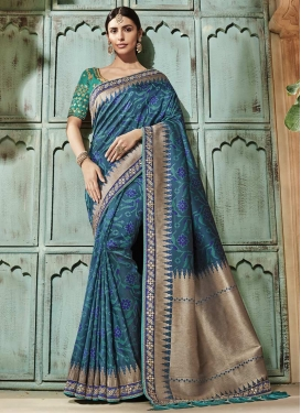 Art Silk Beads Work Trendy Saree