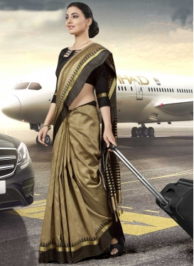 Art Silk Beige and Brown Trendy Classic Saree