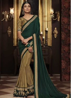 Art Silk Beige and Green Half N Half Trendy Saree