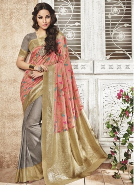 Art Silk Beige and Grey Print Work Half N Half Trendy Saree