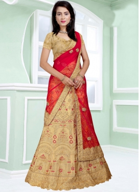 Art Silk Beige and Red A Line Lehenga Choli