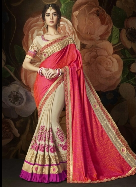 Art Silk Beige and Rose Pink Designer Half N Half Saree