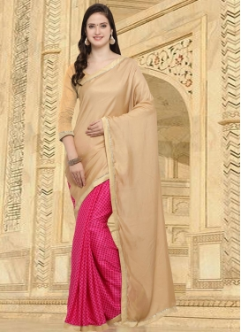 Art Silk Beige and Rose Pink Lace Work Half N Half Designer Saree
