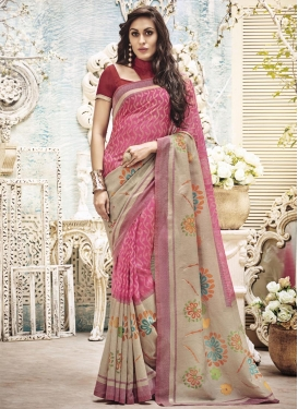 Art Silk Beige and Rose Pink Resham Work Contemporary Saree