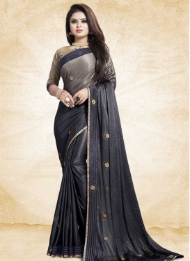 Art Silk Beige and Violet Lace Work Contemporary Style Saree