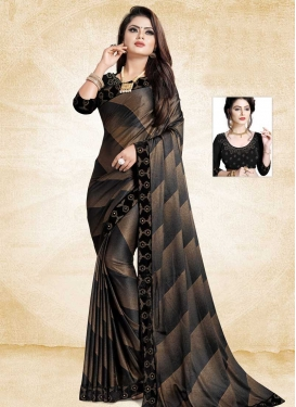 Art Silk Black and Brown Digital Print Work Trendy Classic Saree