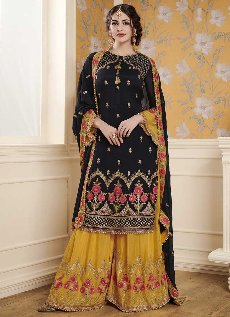 5fa0a8fc27c7 Art Silk Black and Gold Embroidered Work Palazzo Style Pakistani Salwar Suit