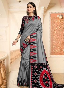 Art Silk Black and Grey Designer Traditional Saree