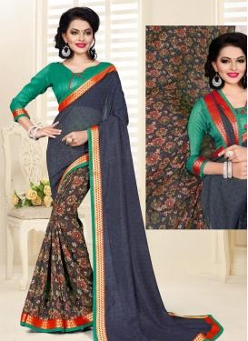 Art Silk Black and Grey Lace Work Half N Half Saree