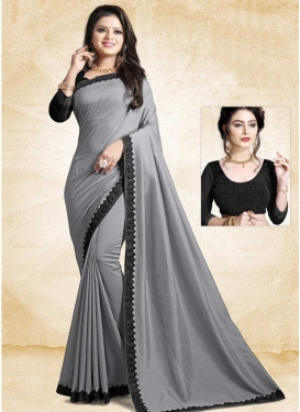 Art Silk Black and Grey Trendy Classic Saree For Ceremonial