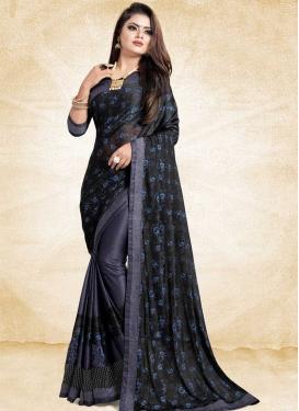 Art Silk Black and Navy Blue Designer Half N Half Saree For Ceremonial