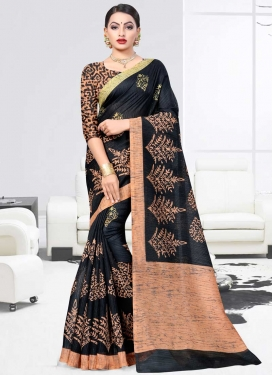 Art Silk Black and Peach Classic Saree For Casual