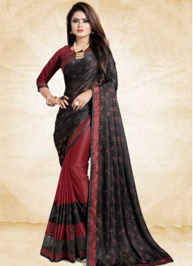 Art Silk Black and Red Half N Half Designer Saree For Festival