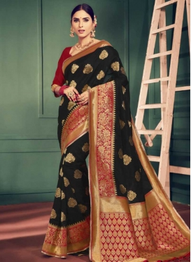 Art Silk Black and Red Thread Work Classic Saree