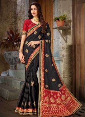 Art Silk Black and Red Trendy Classic Saree