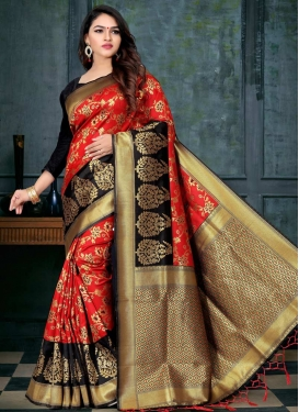 Art Silk Black and Red Trendy Classic Saree