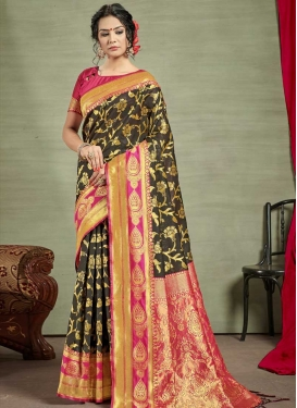 Art Silk Black and Rose Pink Classic Saree