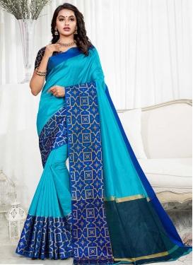 Art Silk Blue and Light Blue Traditional Saree