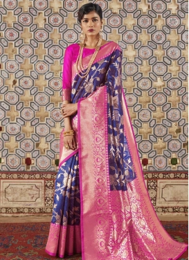 Art Silk Blue and Magenta Thread Work Designer Contemporary Style Saree