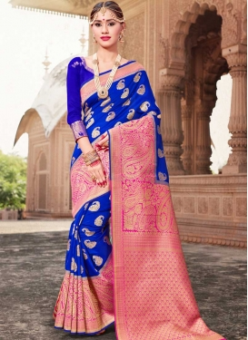 Art Silk Blue and Rose Pink Thread Work Classic Saree