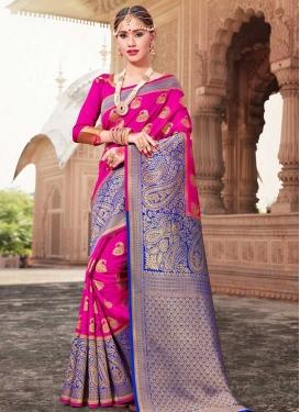 Art Silk Blue and Rose Pink Thread Work Trendy Classic Saree