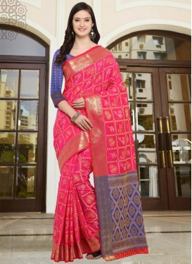 Art Silk Blue and Rose Pink Traditional Saree