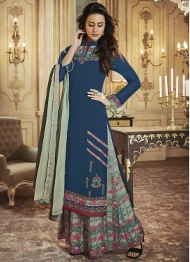 Art Silk Blue and Sea Green Digital Print Work Designer Palazzo Salwar Suit