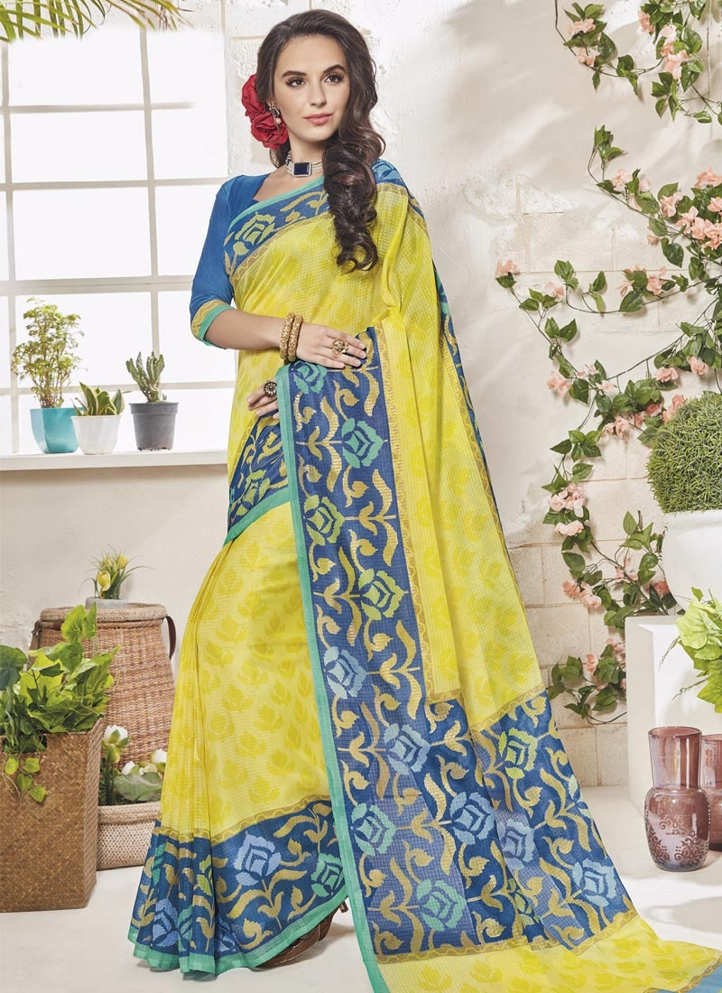 Art Silk Blue and Yellow Contemporary Style Saree For Casual