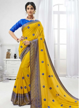 Art Silk Blue and Yellow Trendy Classic Saree