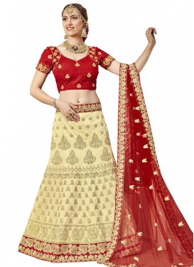 Art Silk Booti Work Cream and Red Trendy Lehenga Choli