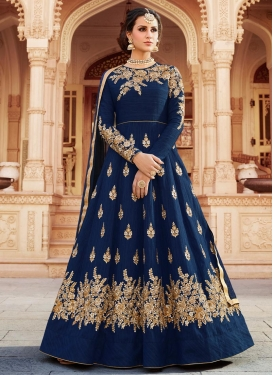 Art Silk Booti Work Floor Length Anarkali Suit