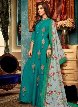 Art Silk Booti Work Readymade Designer Gown
