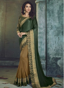 Art Silk Bottle Green and Brown Half N Half Trendy Saree For Ceremonial