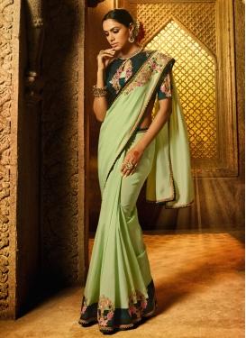 Art Silk Bottle Green and Mint Green Trendy Classic Saree
