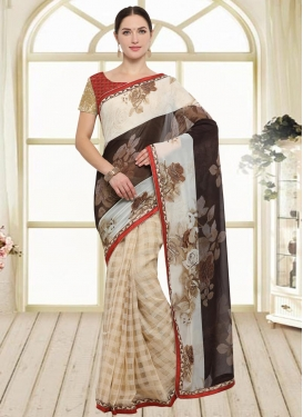 Art Silk Brown and Cream Trendy Saree