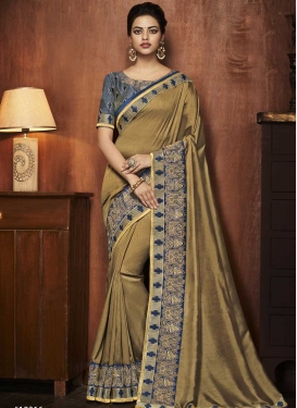 Art Silk Brown and Grey Trendy Classic Saree