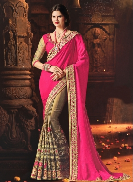 Art Silk Brown and Rose Pink Embroidered Work Half N Half Trendy Saree