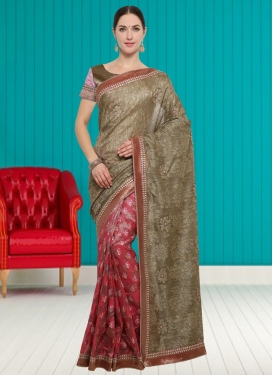 Art Silk Brown and Rose Pink Half N Half Trendy Saree