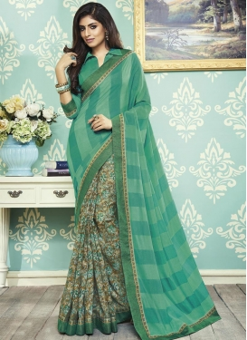 Art Silk Brown and Sea Green Half N Half Designer Saree For Casual