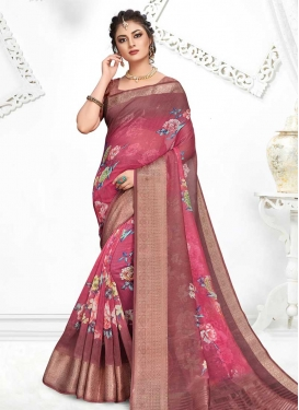 Art Silk Burgundy and Rose Pink Trendy Classic Saree For Ceremonial
