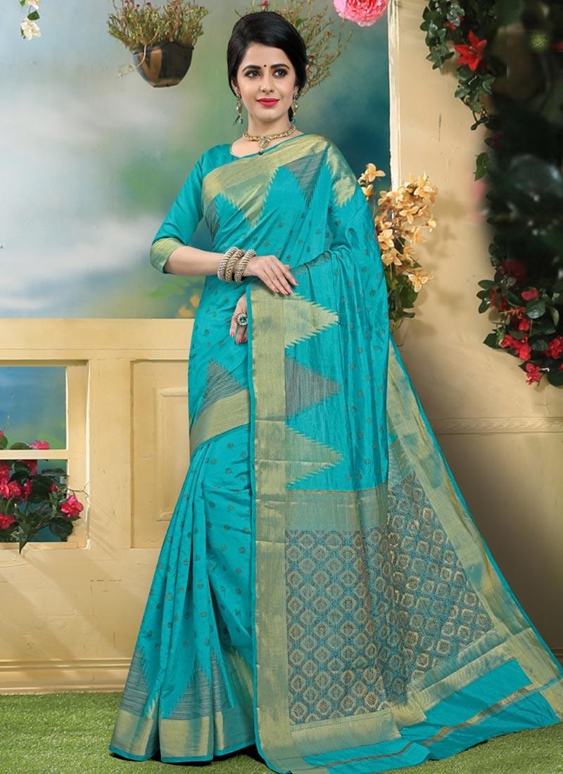 Art Silk Contemporary Style Saree For Ceremonial