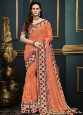 Art Silk Coral and Crimson Embroidered Work Traditional Saree