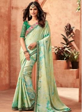 Art Silk Cream and Green Designer Contemporary Style Saree