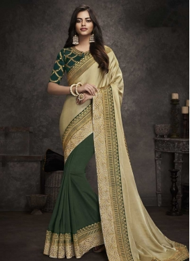 Art Silk Cream and Green Embroidered Work Half N Half Designer Saree