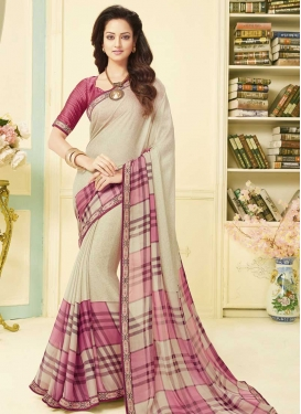 Art Silk Cream and Hot Pink Classic Saree For Casual