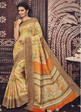 Art Silk Cream and Orange Print Work Traditional Saree