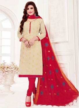 Art Silk Cream and Red Churidar Salwar Suit