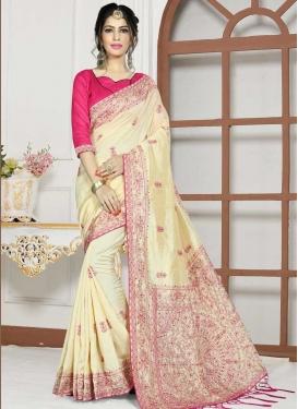 Art Silk Cream and Rose Pink Trendy Saree