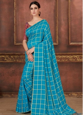 Art Silk Crimson and Light Blue Trendy Saree For Casual
