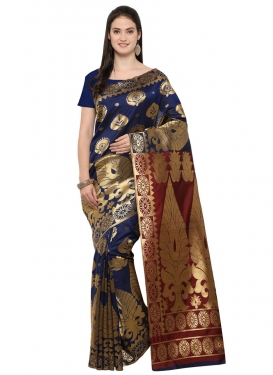 Art Silk Crimson and Navy Blue Contemporary Saree